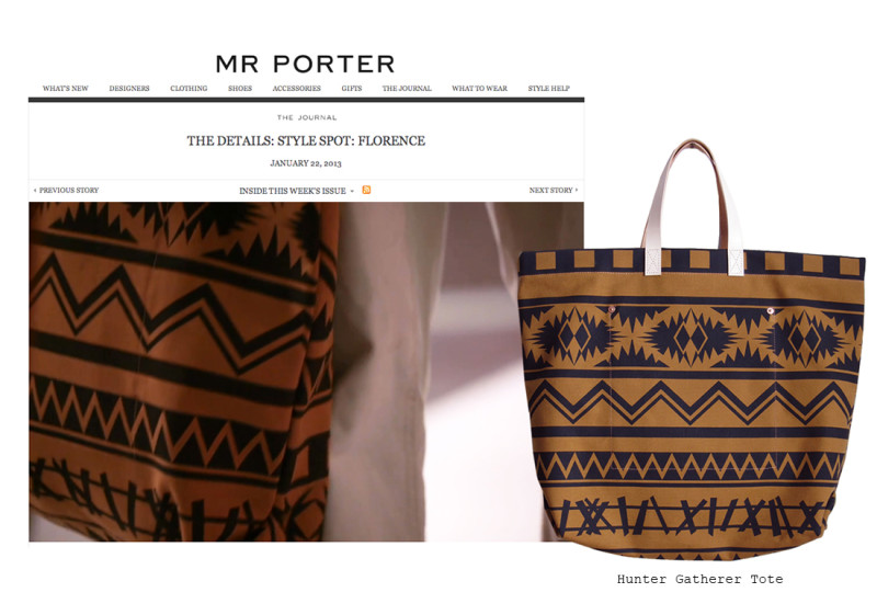 Mr Porter featuring the Hunter Gatherer tote