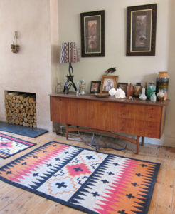 Hand woven Peaks' rug and runner