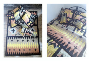 Peaks' rug with Elements' patchwork cushions and quilt roll. Also showing patchwork quilt on bed with cushions and rug.