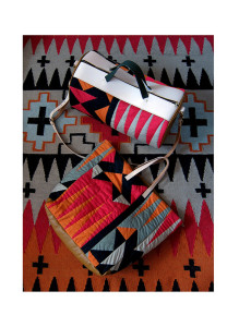 Peaks' rug, Elements' patchwork tote and duffel bag