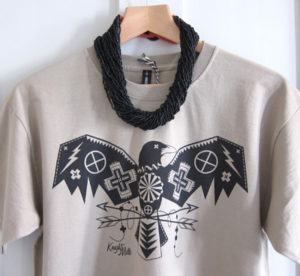 Elemental Crow' taupe tee. Shown with multi seed bead cluster necklace in black.
