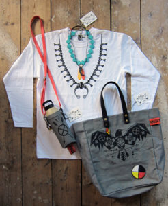 Squash blossom' print tee with Elemental Crow' tote and Muroc' water canteen. Hand printed and made in London.