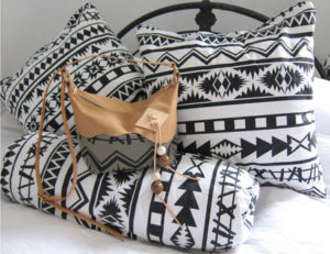 Blanket print Canyon bag and cushions.
