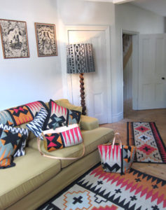 Patchwork pieces and rugs at home.