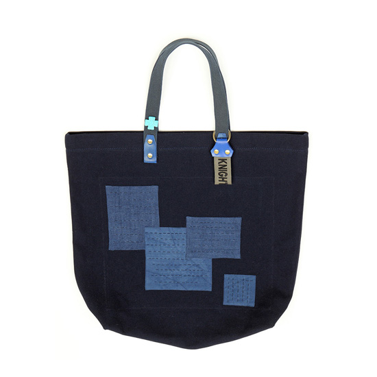 Indigo linen and cotton boro patch detail tote