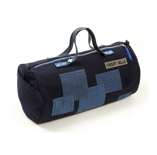 Indigo linen and cotton patch boro detail duffel bag