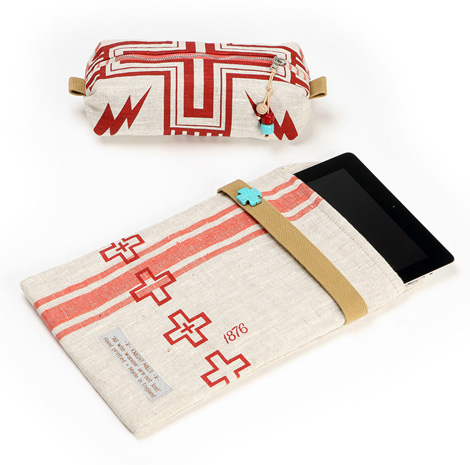 Flare iPad slip case and Squall zip pouch in Navajo red.