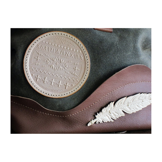 Circle patch and feather detail