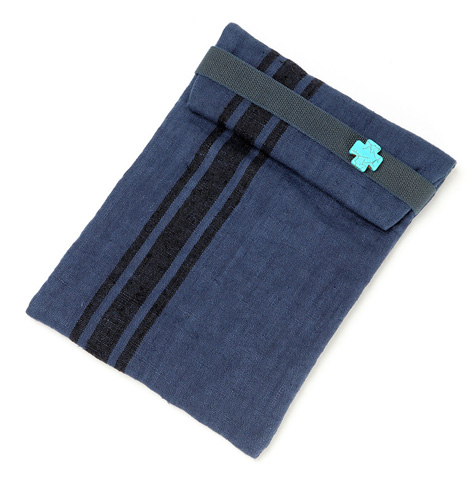 Over dyed Indigo linen ipad slip case, with buffalo stone cross detail.