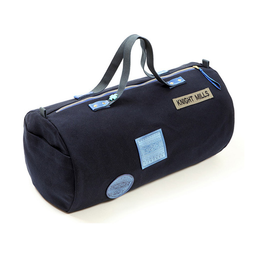 Indigo embossed leather patch detail duffel bag