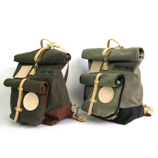 Six Rivers back packs in olive and sage