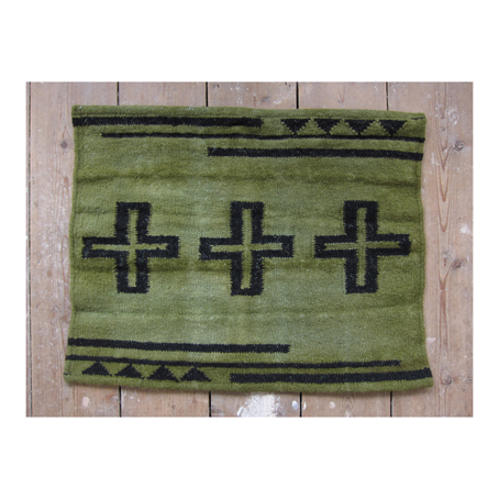 Age dyed hand woven wool mat