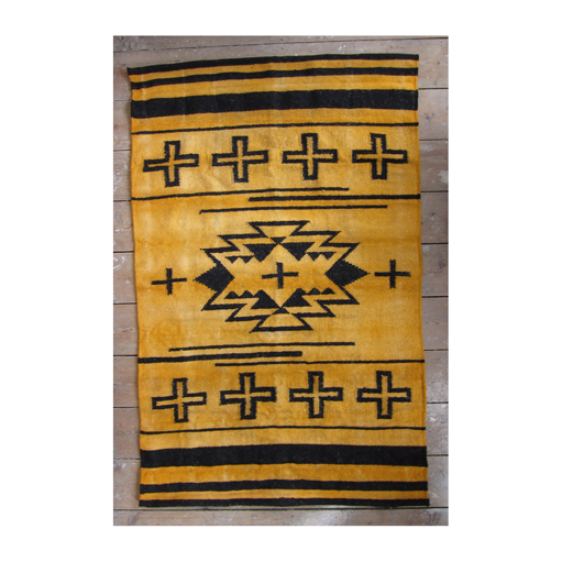 Over dyed hand woven wool rug Ochre