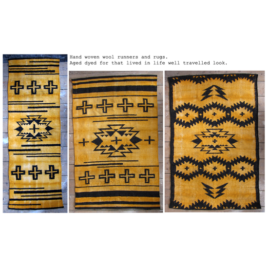 Hand woven and age dyed rugs Ochre