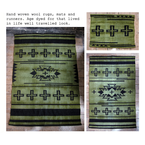 Hand woven and age dyed rugs and runners