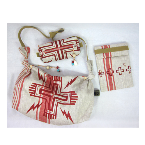 Tinder hobo, Flare iPad slip case and Squall zip pouch all in Navajo red.