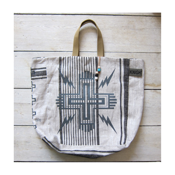 Linen Cross n Bolts' tote Grey/black