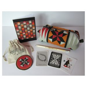 Pin Wheel' patchwork design pouch, mirror, etched pencil, card and sticker set.
